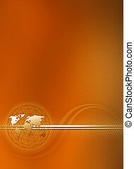abstract cover - orange brochure cover with world and curve...