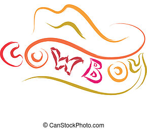 cowboy hat  - abstract cowboy hat stylized vector sketch