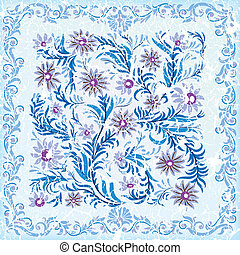 abstract cracked background with blue floral ornament