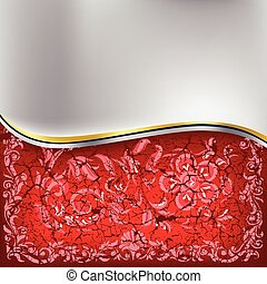 abstract cracked floral ornament on a red background