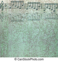 abstract cracked green background with musical notes