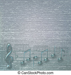 abstract cracked grey background with musical notes