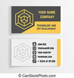 Abstract creative business card vector template with linear logo