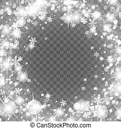 Abstract creative christmas falling snow isolated on background. Vector illustration clipart art for Xmas holiday decoration. Concept idea design element. Realistic snowflake. Winter frost effect