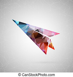 Abstract creative concept . For web and mobile content isolated on background, unusual template design, flat silhouette object and social media image, triangle art origami