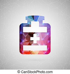 Abstract creative concept icon. For web and mobile content isolated on background, unusual template design, flat silhouette object and social media image, triangle art origami.