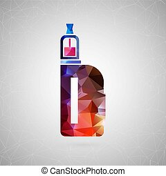 Abstract creative concept icon of vape. For web and mobile content isolated on background, unusual template design, flat silhouette object and social media image, triangle art origami
