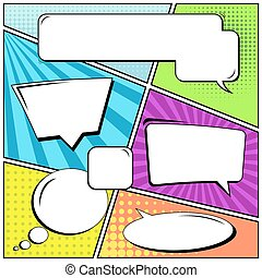 Abstract creative concept vector comic pop art style blank, layout template with clouds beams and isolated dots background. For sale banner, empty speech bubble set, illustration halftone book design.