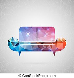 Abstract creative concept vector. For web and mobile content isolated on background, unusual template design, flat silhouette object and social media image, triangle art origami