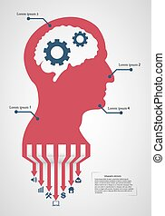 Abstract creative concept vector head siluet with gears. For web and mobile application isolated on background, illustration template design, Business infographic and social media