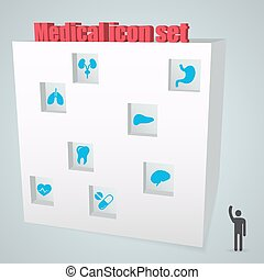 Abstract Creative concept vector icon medical set for Web and Mobile Applications isolated on background. Vector illustration template design, Business infographic and social media, origami icons