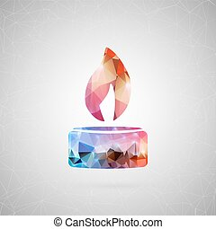 Abstract creative concept vector icon of diwali candle. For web and mobile content isolated on background, unusual template design, flat silhouette object, triangle art origami, banner, poster.