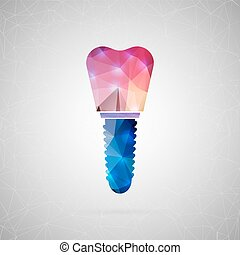 Abstract creative concept vector icon of implant tooth. For...
