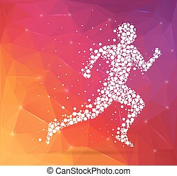 Abstract Creative concept vector image of running man for Web and Mobile Applications isolated on background, art illustration template design, business infographic and social media, icon, symbol