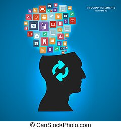 Abstract creative concept vector siluet head of icons. For web and mobile applications isolated on background, illustration template design, Business infographic and social media.