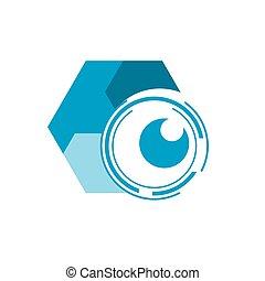 abstract creative digital photo eye vision symbol concept video monitoring cctv camera logo idea