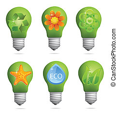 abstract creative eco bulb sign set