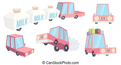 Abstract creative funny cartoon car set isolated on transparent background. For web and mobile app, clipart art. Concept idea design element. Vector illustration theme