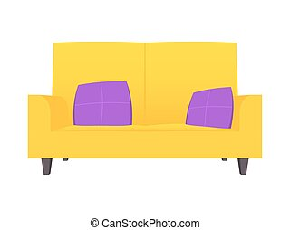Abstract creative funny cartoon sofa set isolated on transparent background. For web and mobile app, clipart art. Concept idea design element. Vector illustration theme