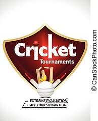 Abstract Cricket Text Background Design on Shield