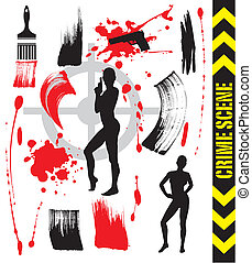 Abstract Crime Scene with blood and brushes