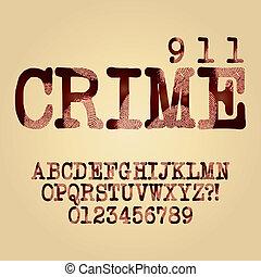 abstract, crimineel, alfabet, en, cijfer, vector