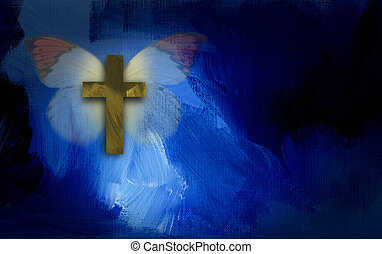 Abstract cross and butterfly wings - Abstract graphic...