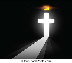 Abstract Cross - Conceptual Cross with exit sign to...
