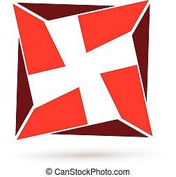 Abstract cross geometric logo