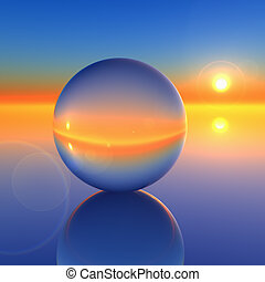 A Sunrise horizon through a crystal ball background. Abstract to forecasting the future.