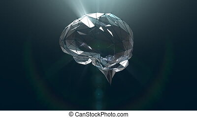 Abstract Crystal Glass Brain - Abstract low polygon crystal...