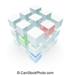 Abstract Cube Array Red Blue Green - An array of cubes...
