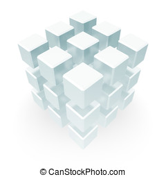 Abstract Cube Block Concept - An array of cubes positioned...