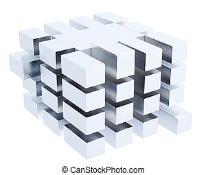 Abstract cube box isolated on white background. 3d rendering