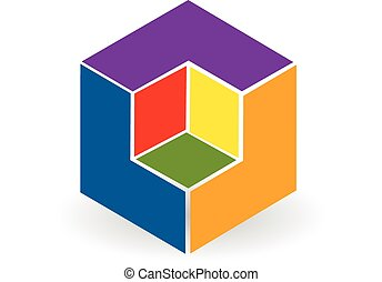 Abstract cube colorful logo