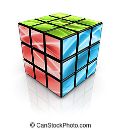 Computer generated cube with abstract designs.