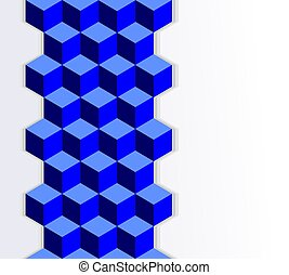 abstract cube element with effect of an optical illusion