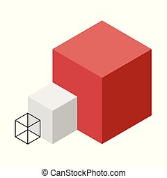 Abstract cube vector shape. Isometric brand of scientific institution, minimalistic block shape
