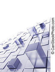 Abstract cubes background with blur at the background, top...