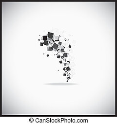 Abstract cubes - Abstract gray cubes connection. Vector...