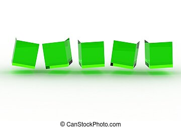 Abstract cubes in a row