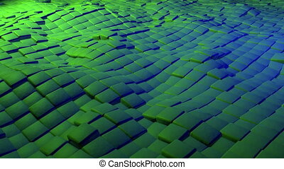 Abstract cubes in green and blue colors