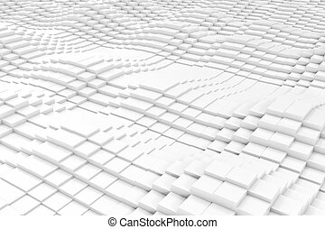 Abstract cubes in the form of a wave. 3d illustration