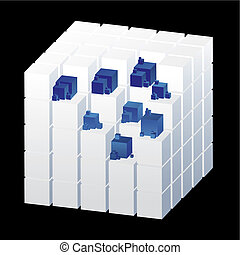 Abstract cubes isolated on the black background with blue parts, vector illustration