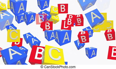 Abstract cubes with letters in red , blue and yellow
