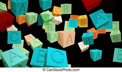 Abstract cubes with letters on black
