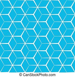 Abstract cubic blue background, seamless pattern