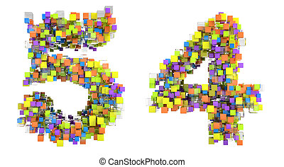 Abstract cubic font 4 and 5 figures isolated over white