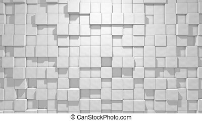 Abstract cubic geometric background, white minimal texture, 3d looped Animation in 4k.Seamless loop digital cubes motion graphics