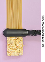 Curling Iron with Spaghetti and Instant Noodles Asian Ramen
